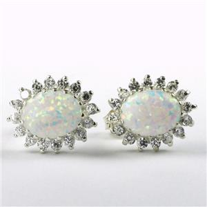 SE183, Created White Opal, 925 Sterling Silver Earrings on Posts