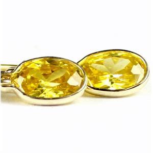 E001,  Golden Yellow CZ, 14K Gold Leverback Earrings