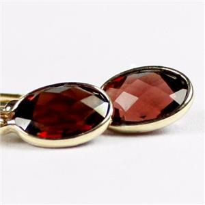 E001, Mozambique Garnet, 14k Gold Earrings