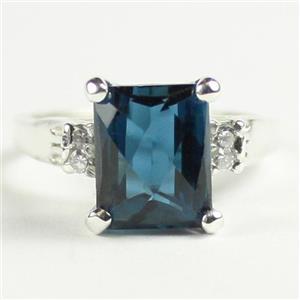 SR221, London Blue Topaz, 925 Sterling Silver Ring