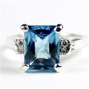 SR221, Swiss Blue Topaz, 925 Sterling Silver Ring