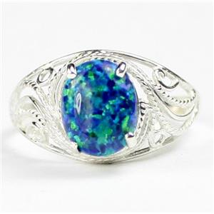 SR083, Created Blue Green Opal, 925 Sterling Silver Ladies Ring