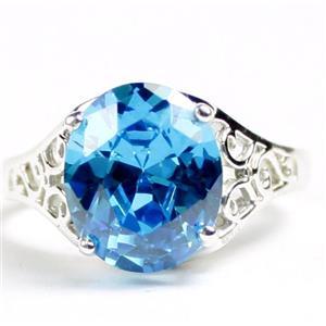 SR057, Swiss Blue CZ, 925 Sterling Silver Ladies Ring
