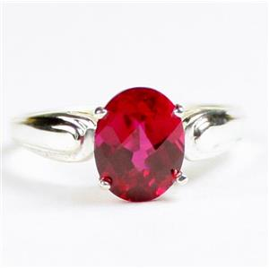 SR058, Created Ruby, 925 Sterling Silver Ladies Ring