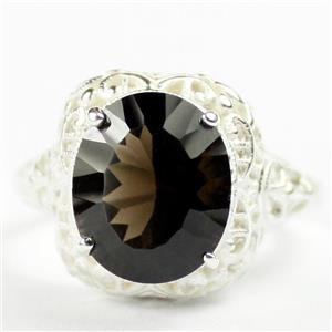 SR009, Smoky Quartz, 925 Sterling Silver Antique Style Filigree Ladies Ring