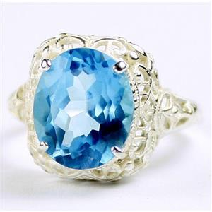 SR009, Swiss Blue Topaz, 925 Sterling Silver Antique Style Filigree Ladies Ring