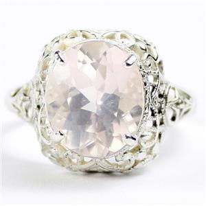SR009,  Rose Quartz, 925 Sterling Silver Antique Style Filigree Ladies Ring