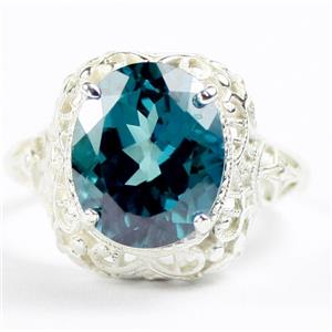 Paraiba Topaz, 925 Sterling Silver Antique Style Filigree Ladies Ring, SR009
