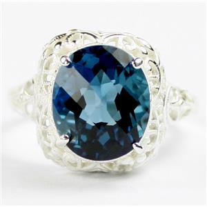SR009, London Blue Topaz, 925 Sterling Silver Antique Style Filigree Ladies Ring