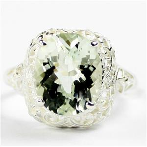 SR009, Green Amethyst, 925 Sterling Silver Antique Style Filigree Ladies Ring