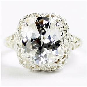 SR009,  Cubic Zirconia, 925 Sterling Silver Antique Style Filigree Ladies Ring