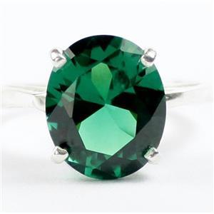 Russian Nanocrystal Emerald, 925 Sterling Silver Ladies Ring, SR055