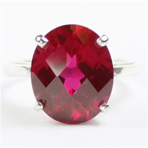 Created Ruby, 925 Sterling Silver Ladies Ring, SR055