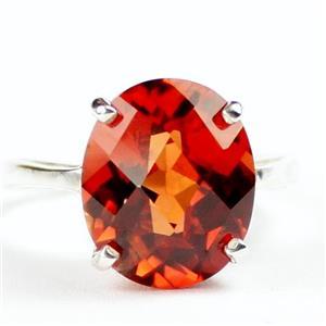 Created Padparadsha Sapphire, 925 Silver Ring, SR055