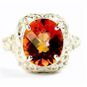 SR009, Twilight Fire Topaz, 925 Sterling Silver Antique Style Filigree Ring