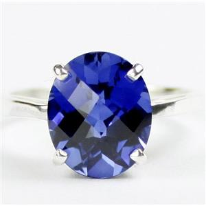Created Blue Sapphire, 925 Sterling Silver Ladies Ring, SR055