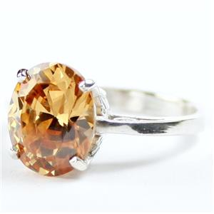 Champagne CZ, 925 Sterling silver Ladies Ring, SR055