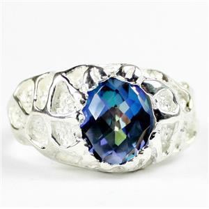 SR168, Neptune Garden Topaz, 925 Men's Sterling Silver Ring