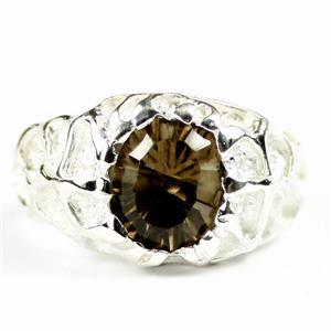 SR168, Smoky Quartz, 925 Men's Sterling Silver Nugget Ring
