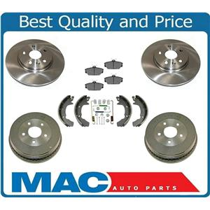 For 01-07 Taurus With Front Disc & Rr Drum Brakes Ceramic Pads Organic Shoes 7Pc