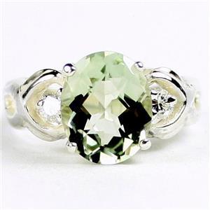 SR243, Green Amethyst (Prasiolite), 925 Sterling Silver Ladies Ring