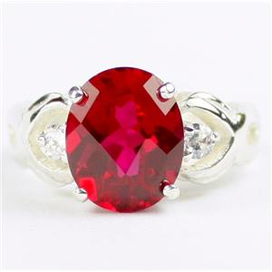 SR243, Created Ruby, 925 Sterling Silver Ladies Ring