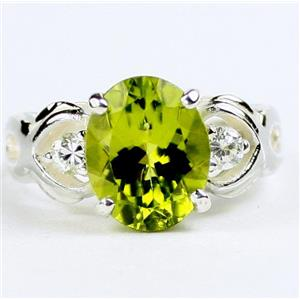SR243, Peridot, 925 Sterling Silver Ladies Ring