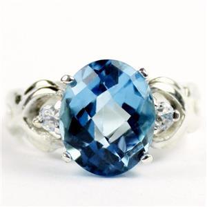 SR243, Swiss Blue Topaz, 925 Sterling Silver Ladies Ring