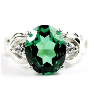 SR243, Russian Nanocrystal Emerald, 925 Sterling Silver Ladies Ring