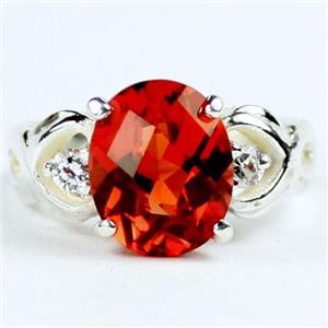 SR243,  Created Padparadsha Sapphire, 925 Sterling Silver Ring
