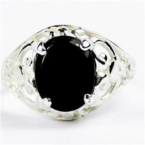 Black Onyx, 925 Sterling Silver Ring, SR004