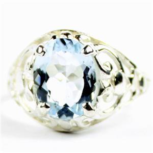 Aquamarine, 925 Sterling Silver Ladies Ring, SR004