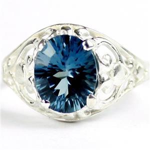 Quantum Cut Swiss Blue Topaz, 925 Sterling Silver Ladies Ring, SR004