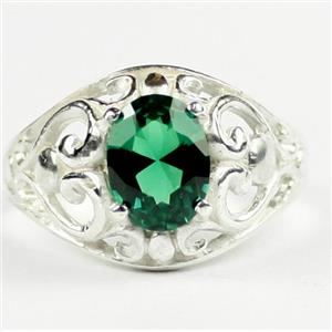 Russian Nanocrystal Emerald, Sterling Silver Ladies Ring, SR111