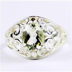 Green Amethyst (Prasiolite), 925 Sterling Silver Ladies Ring, SR111