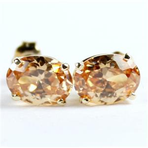 E002, Champagne CZ Gold Earrings