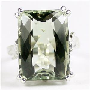 SR039, 18x13mm Green Amethyst, 925 Sterling Silver Ladies Ring