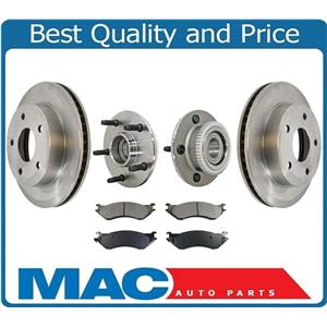 00 01 Ram Pick Up Rear Wheel Drive Ft Rotors Ceramic Pads Hub & Bearings 5Pc Kit
