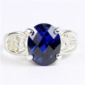 Created Blue Sapphire, 925 Sterling Silver Ladies Ring, SR369