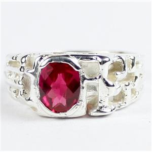 SR197, Created Ruby, 925 Sterling Silver Men's Ring