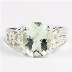 Green Amethyst (Prasiolite), 925 Sterling Silver Ladies Ring, SR369