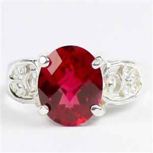 Created Ruby, 925 Sterling Silver Ladies Ring, SR369