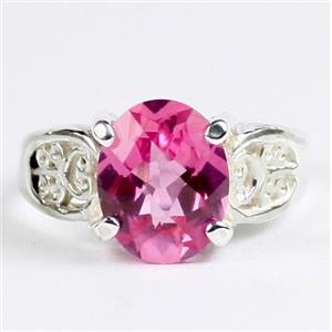 Created Pink Sapphire, 925 Sterling Silver Ladies Ring, SR369