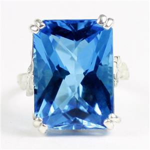SR039, 18x13mm Swiss Blue Topaz, 925 Sterling Silver Ladies Ring