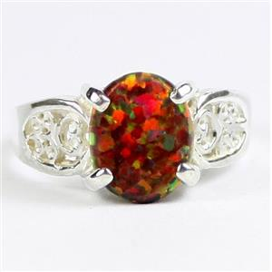 Created Red Brown Opal, 925 Sterling Silver Ladies Ring, SR369