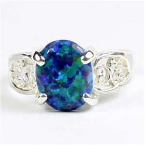 Created Blue Green Opal, 925 Sterling Silver Ladies Ring, SR369