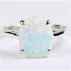 SR055, Cretaed White Opal, 925 Sterling Silver Ladies Ring