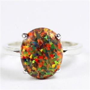 Created Red Brown Opal, 925 Sterling Silver Ladies Ring, SR055