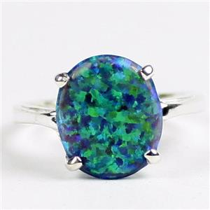 Created Blue Green Opal, 925 Sterling Silver Ladies Ring, SR055