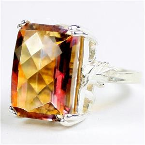 SR039, 18x13mm Twilight Fire Topaz, 925 Sterling Silver Ladies Ring